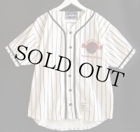 Hard Rock Cafeハードロック カフェ NEWPORT BEACH ロゴ刺繍 ピンストライプ コットン ベースボールシャツ 生成り M