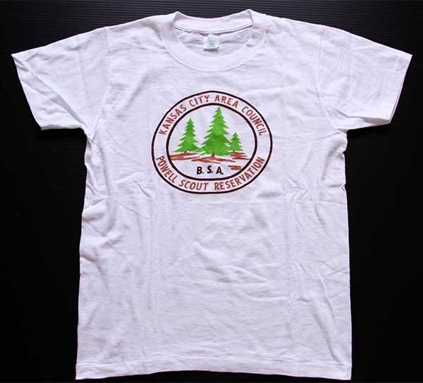 画像2: 60s BSA ボーイスカウト POWELL SCOUT RESERVATION 染み込みプリント コットンTシャツ 白 S