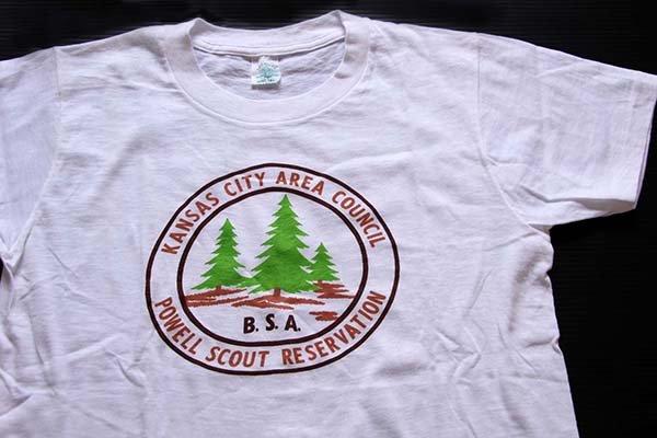 画像1: 60s BSA ボーイスカウト POWELL SCOUT RESERVATION 染み込みプリント コットンTシャツ 白 S