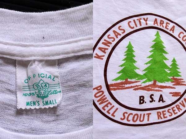 画像3: 60s BSA ボーイスカウト POWELL SCOUT RESERVATION 染み込みプリント コットンTシャツ 白 S