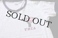 70s USA製 Championチャンピオン DULUTH YMCA 染み込みプリント コットン リンガーTシャツ 白×ナス紺 L