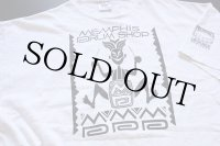 90s USA製 MEMPHIS DRUM SHOP コットンTシャツ 杢ホワイト XXL