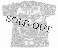 90s USA製 スクリームフェイス オールオーバープリント コットンTシャツ 黒 XL
