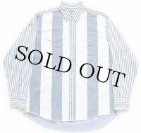 Wranglerラングラー ストライプ 切り替え ボタンダウン コットンシャツ 17.5