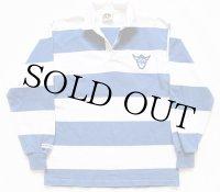 カナダ製 BARBARIANバーバリアン LUTHER刺繍 太ボーダー コットン ラガーシャツ 青×白 L