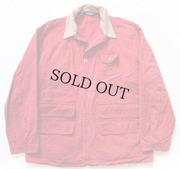 画像1: 90s USA製 ポロ ラルフローレン コットン ハンティングジャケット 赤 L
