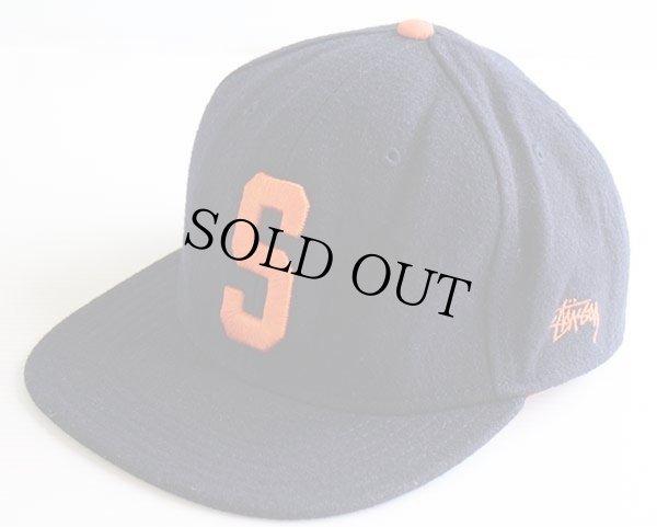 画像1: STUSSYステューシー ロゴ刺繍 ウール混 ベースボールキャップ 紺×オレンジ