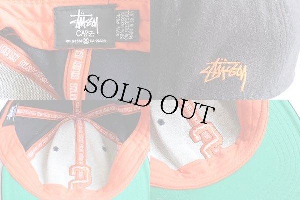 画像3: STUSSYステューシー ロゴ刺繍 ウール混 ベースボールキャップ 紺×オレンジ
