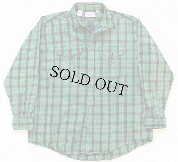 画像1: 90s USA製 FILSONフィルソン チェック ヘービーコットンシャツ 緑×黒 XXL