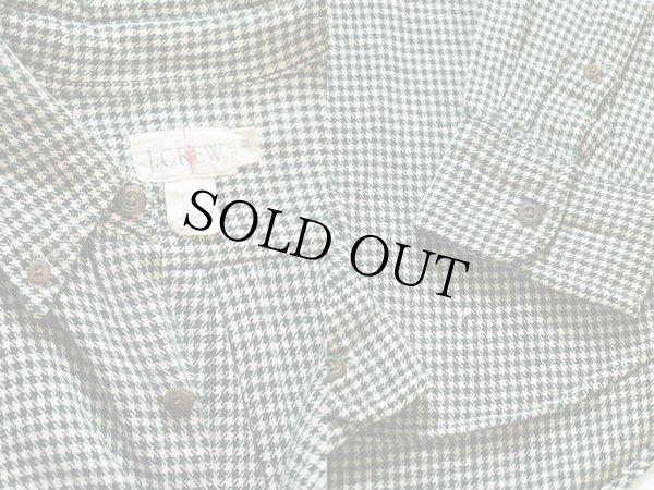 画像3: 90s J.CREW 千鳥格子 ボタンダウン ネルシャツ 緑×白 M
