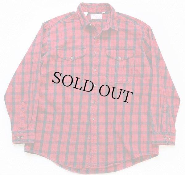 画像1: 90s USA製 FILSONフィルソン チェック ヘービーコットンシャツ 赤×黒 XXL