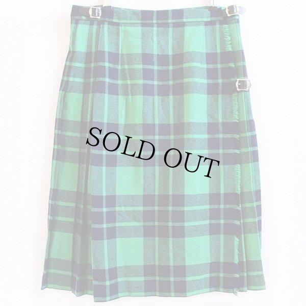 画像1: スコットランド製 Laird-Portch タータンチェック ウール キルトスカート 緑×紺