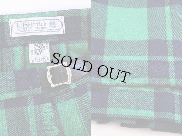 画像3: スコットランド製 Laird-Portch タータンチェック ウール キルトスカート 緑×紺