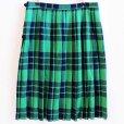 画像2: スコットランド製 Laird-Portch タータンチェック ウール キルトスカート 緑×紺 (2)