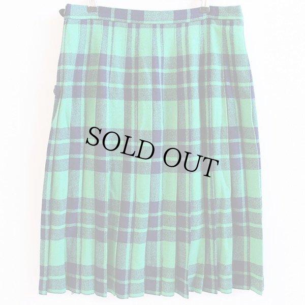 画像2: スコットランド製 Laird-Portch タータンチェック ウール キルトスカート 緑×紺
