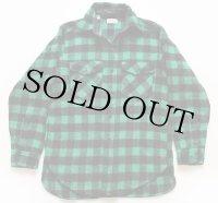 80s USA製 L.L.Bean バッファローチェック ウールシャツ 緑×黒 M