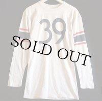 60s 39 ナンバリング 染み込みプリント フットボールTシャツ 白