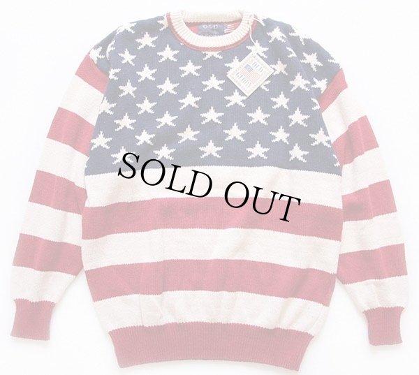 画像1: 90sデッドストック USA製 OLD GLORY 星条旗柄 コットンニット セーター XL