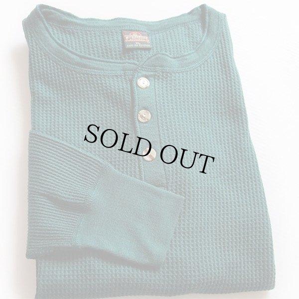 画像1: 90s USA製 GREATLAND ヘンリーネック サーマルシャツ 緑 XL