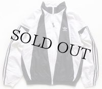 90s adidasアディダス トレフォイル ロゴ刺繍 ツートン 切り替え ナイロンジャケット 白×黒 S