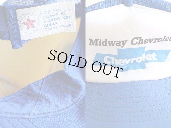 画像3: 80s USA製 Midway Chevroletシボレー プリント ツートン メッシュキャップ 青×白