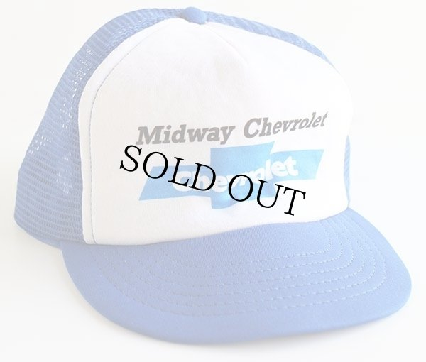 画像1: 80s USA製 Midway Chevroletシボレー プリント ツートン メッシュキャップ 青×白