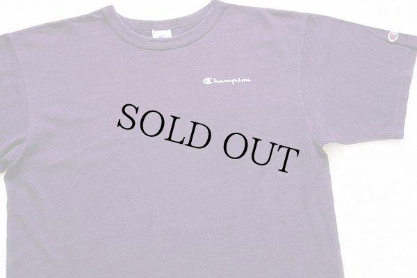 画像1: 90s USA製 Championチャンピオン ワンポイント ロゴ コットンTシャツ 紫 L