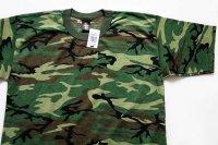 80sデッドストック USA製 TeeSwing グリーンリーフカモ 染み込みプリント Tシャツ L