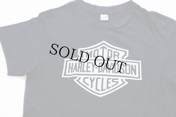 画像1: 70s USA製 Hanes HARLEY-DAVIDSONハーレー ダビッドソン ロゴ 両面プリント コットンTシャツ 黒 M