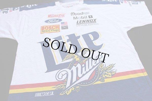 画像1: 90s USA製 Miller Lite NASCAR 染み込みプリント Tシャツ XL