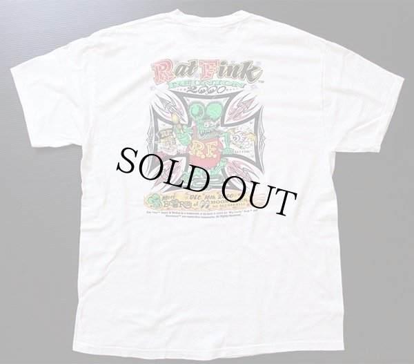 画像1: 00s RATFINKラットフィンク REUNION MOONEYES コットンTシャツ 白 L
