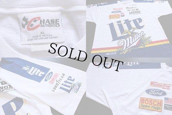 画像4: 90s USA製 Miller Lite NASCAR 染み込みプリント Tシャツ XL