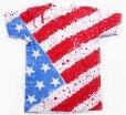画像1: 80s USA製 BELTON 星条旗柄 全面ペイント コットンTシャツ L (1)