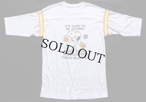 画像2: 80s スヌーピー USMC メッセージ フットボールTシャツ 白