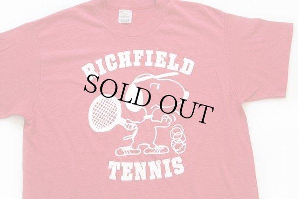 画像1: 80s USA製 RICHFIELD TENNIS スヌーピー Tシャツ 赤 L