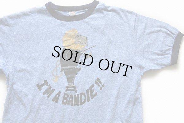 画像1: 70s USA製 Hanes I'M A BANDIE !! MSM BAND ライオン 指揮者 リンガーTシャツ 杢ブルー×紺 L