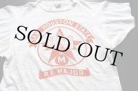 70s USA製 Championチャンピオン SAM HOUSTON STATE P.E.MAJOR 染み込みプリント コットンTシャツ 白 M