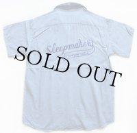 50s Hiltonヒルトン Sleepmakers チェーン刺繍 レーヨン ボウリングシャツ ブルーグレー L