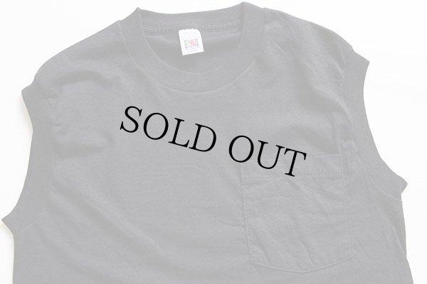 画像1: デッドストック★FRUIT OF THE LOOM 無地 ノースリーブ ポケットTシャツ 黒 M