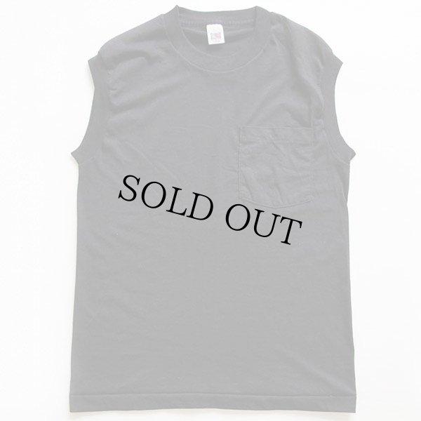 画像2: デッドストック★FRUIT OF THE LOOM 無地 ノースリーブ ポケットTシャツ 黒 M
