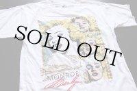 80s MARILYN MONROEマリリンモンロー ラメ&染み込みプリント コットンTシャツ 白 M
