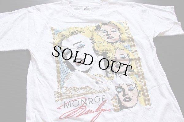 画像1: 80s MARILYN MONROEマリリンモンロー ラメ&染み込みプリント コットンTシャツ 白 M