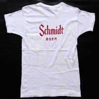 60s USA製 Norwich Schmidt BEER 染み込みプリント コットン ポケットTシャツ 白 M★A