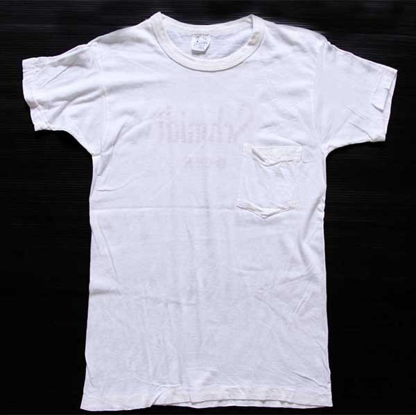 画像2: 60s USA製 Norwich Schmidt BEER 染み込みプリント コットン ポケットTシャツ 白 M★A