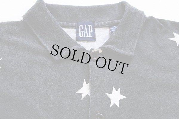 画像2: 90s GAPギャップ スター 総柄 カットソー コットンシャツ 黒×白 S