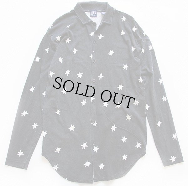 画像1: 90s GAPギャップ スター 総柄 カットソー コットンシャツ 黒×白 S