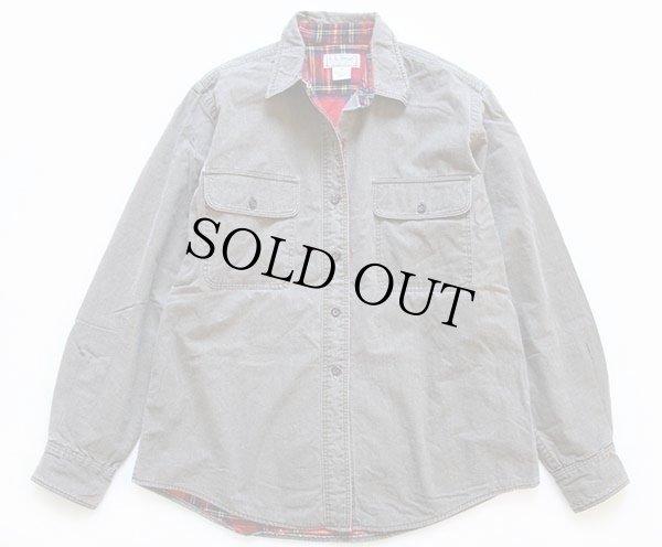 画像1: 80s USA製 L.L.Bean ネルライナー コットンシャツ グリーングレー W-M