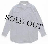 80s USA製 L.L.Bean 無地 コットン シャモアクロスシャツ 紺 15.5