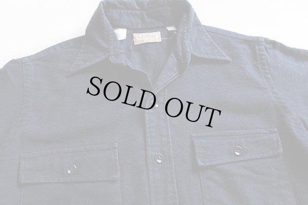 画像2: 80s USA製 L.L.Bean 無地 コットン シャモアクロスシャツ 紺 15.5
