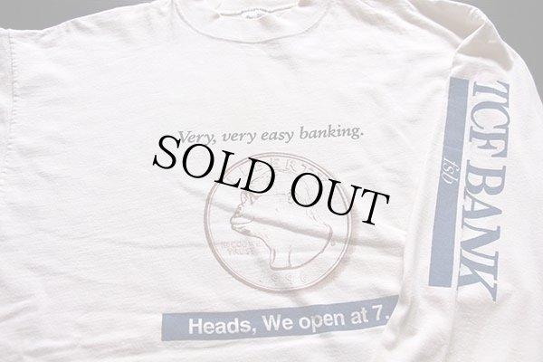 画像3: 90s USA製 TCF BANK 両面プリント コットン 長袖Tシャツ 生成り XL★ロンT